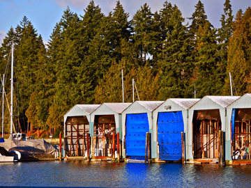 Boat sheds in the Burrard Inlet in Vancouver, Canada