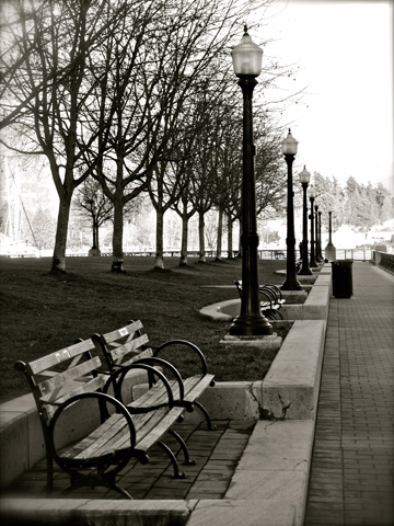 A small park populated with park benches and street lanterns in Vancouver's Coal Harbour