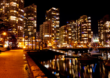 The lights of Yaletown at night in Vancouver, British Columbia