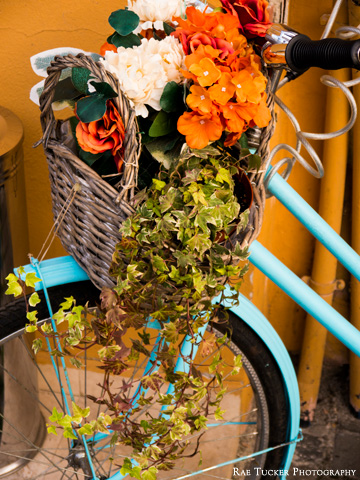 A wicker basket containing plants and flowers overflowing over the front wheel of a blue bicycle