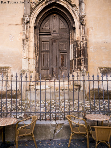 A small patio in front of the cathedral in Sibiu, Romania