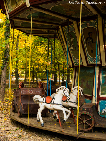 An old-fashioned merry-go-round found in the Village Museum in Bucharest, Romania.