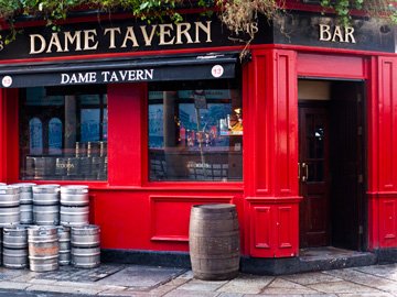 A red panelled pub in Dublin, Ireland