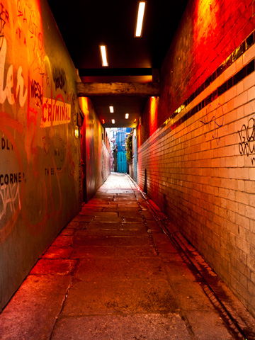 A red-lit tunnel in Dublin, Ireland