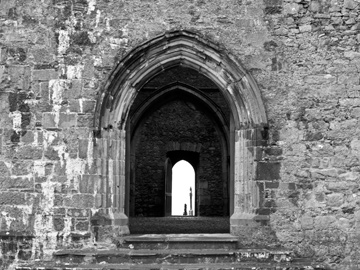 Arched entrances of the Rock of Cashel in Ireland.