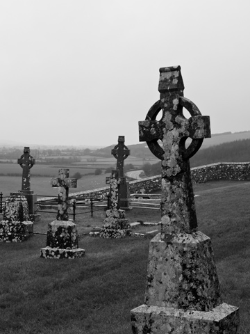 Celtic Cross headstones at the Rock of Cashel in Ireland.