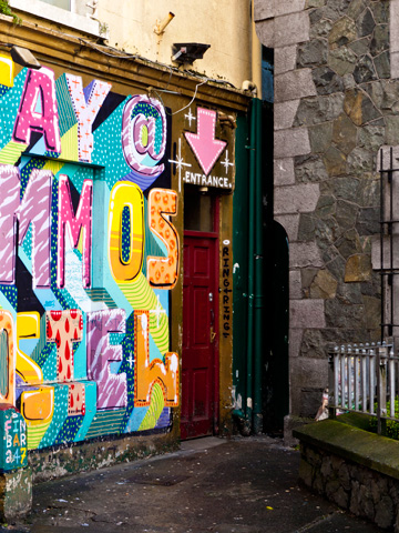 A painted entrance to a building in Galway, Ireland