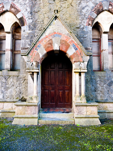 Entrance to an old stone church in Galway, Ireland