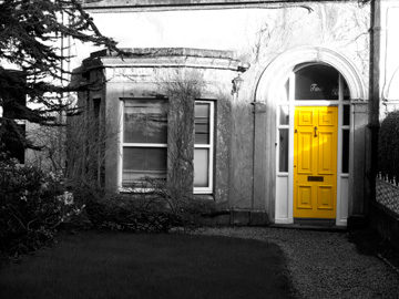 A yellow door in Galway, Ireland