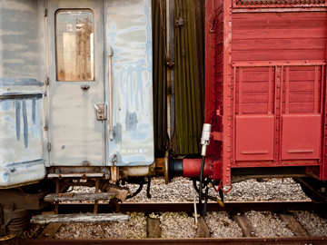 Two old train cars in Emilia Romagna, Italy