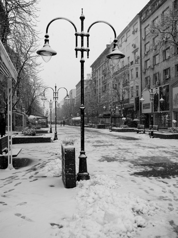 Vitosha Blvd covered in snow in Sofia, Bulgaria