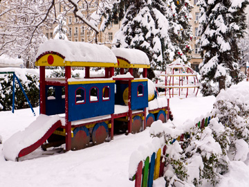 A snow covered playground in the centre of Sofia, Bulgaria