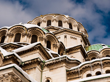 Architectural angles of the Alexander Nevsky Cathedral Church in Sofia, Bulgaria