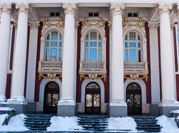 A snowy entrance to the National Theater in Sofia, Bulgaria