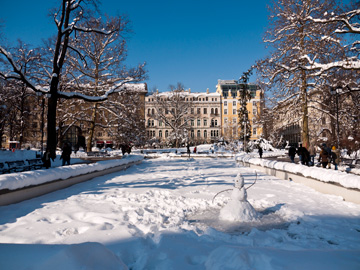 Winter covers the City Garden in Sofia, Bulgaria