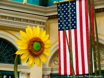 A sunflower and American flag displayed in Las Vegas, Nevada