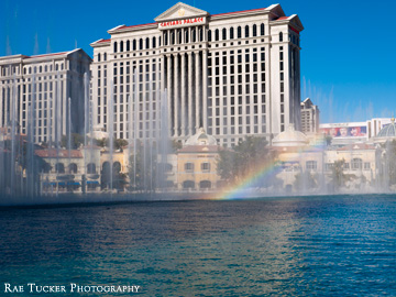 A rainbow runs through the Bellagio water fountain in Las Vegas, Nevada