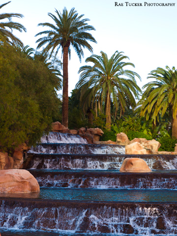 The waterfall outside the Mirage Hotel and Casino in Las Vegas, Nevada