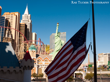 The American Flag flies before the strip in Las Vegas, Nevada