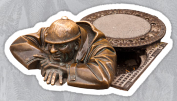 Sticker of The Watcher Statue in Bratislava