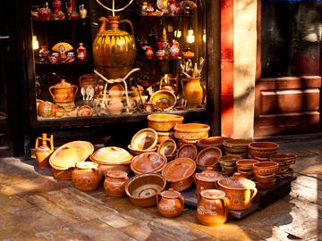 Clay pottery and cookware displayed at the old bazaar in Skopje, Macedonia