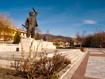 The main square in Mirkovo, Bulgaria