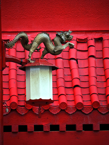 A dragon street lamp in Vancouver's Chinatown