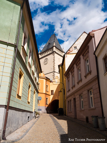 A street in Tabor in the South Bohemia region of Czechia.