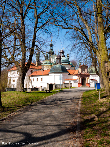 A path leads to the Klokoty church in Tabor in the Czech Republic.