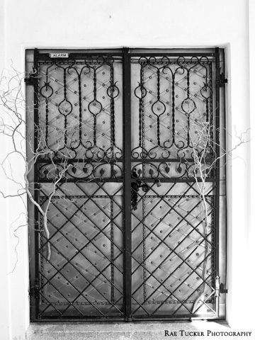 A black and white image of gated doors at a church in Czechia.
