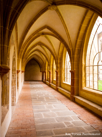 An arched walkway at a church in Ceske, Budejovice in the South Bohemia region of the Czech Republic.