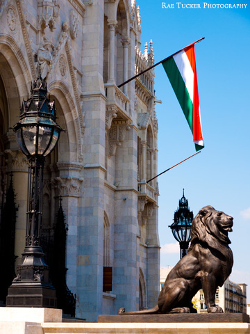 A lion stands guard under a Hungarian flag outside the parliament building in Budapest, Hungary