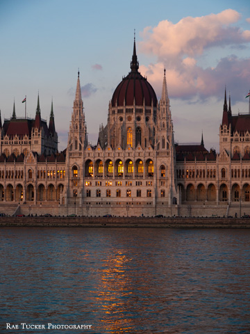 Dusks settles over the Hungarian Parliament building and Danube river in Budapest.