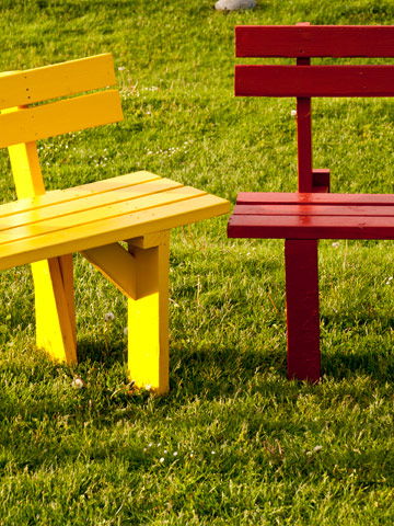 Yellow and Red Benches at SFU on Burnaby Mountain