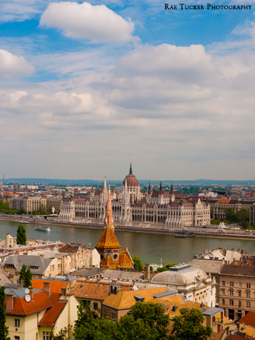 The Hungarian Parliament building and Danube river as seen from Buda Hill in Budapest, Hungary