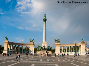 Hero's Square at the entrance to City Park in Budapest, Hungary