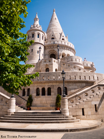 The interesting, rotund architecture of Fisherman's Bastion in Budapest, Hungary