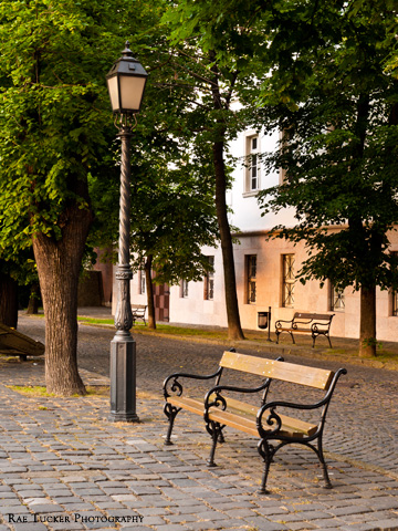 A bench and street lamp on Buda Hill in Budapest, Hungary