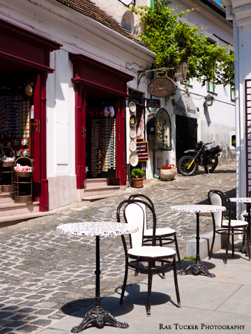 A small patio and shops during the summer in Szentendre, Hungary