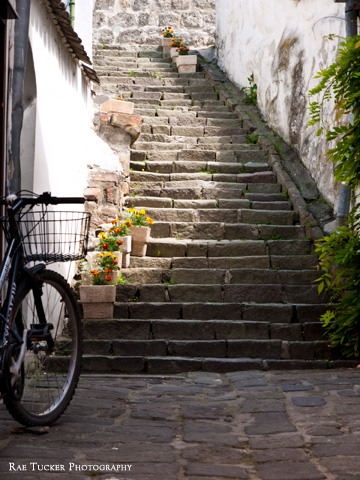 A bicycle and stone stairway in Szentendre, Hungary