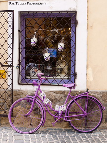 A lavender purple bicycle in Szentendre, Hungary