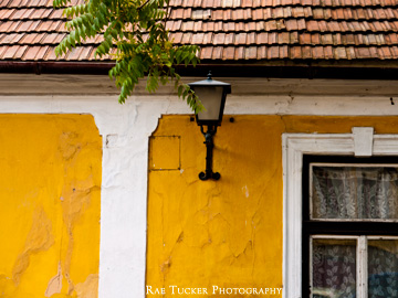 Residential shapes and details on a home in Szentendre, Hungary