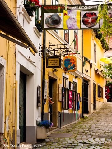 Galleries and shops on a colorful street in Szentendre, Hungary