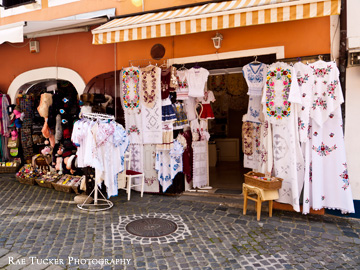 A shop selling traditional embroidered fabrics in Szentendre, Hungary
