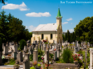 A church and cemetery in Tapolca, Hungary