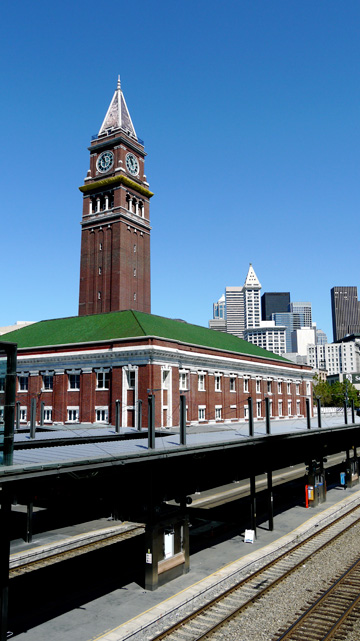 Seattle's train station sits before the downtown skyline