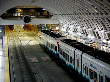 A train traveling through the Battery Street Transit Tunnel in Seattle, Washington