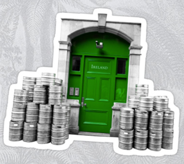 Irish green door and beer kegs Sticker