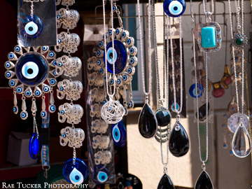 Evil eye pendants displayed at the bazaar in Sarajevo