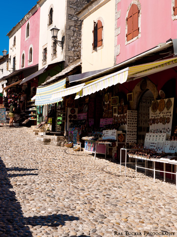 Market stalls in the old town in Mostar, BiH